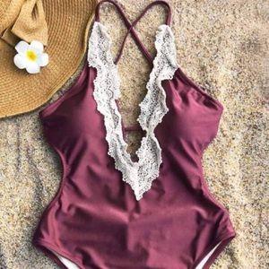 Lace detail one piece cutout bathing suit - NWT!